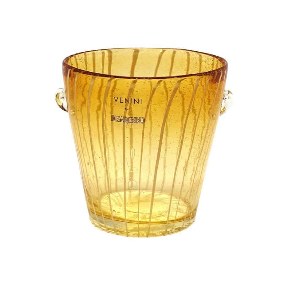 modern venini murano amber art glass ice holder 5785