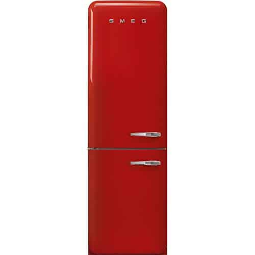 """Smeg FAB32ULRD3 50's Retro Style Aesthetic 24"""" 50'S Style Refrigerator With Automatic Freezer, Red, Left Hand Hinge"""