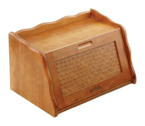 """Mountain Woods Honey Oak Finish Large Bamboo Wooden Bread Box and Storage Container Box with Rattan Lid - 16"""" x 10.5"""" x 9"""""""