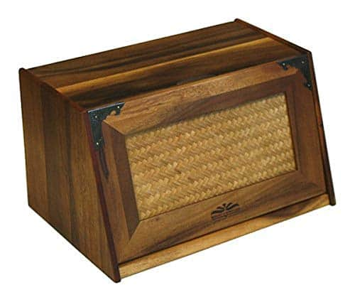 """Mountain Woods Brown Antique Style Extra Large Acacia Wooden Bamboo Bread Box and Storage Container Box with Rattan Lid - 16""""x 10.5""""x 9"""""""