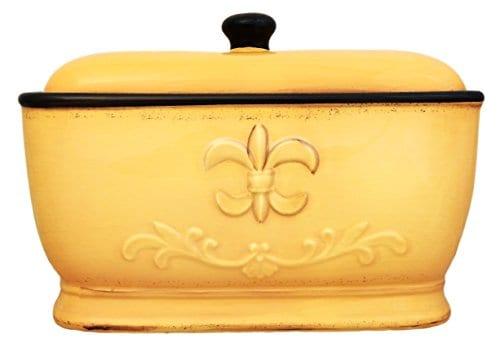 Tuscany Fleur De Lis Bread Box / Toast Jar Color: Yellow
