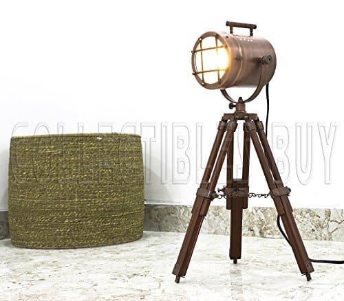 Antique Vintage Desktop Searchlight Adjustable Wood Tripod Lamps LED Table Spotlights Home Decor Copper