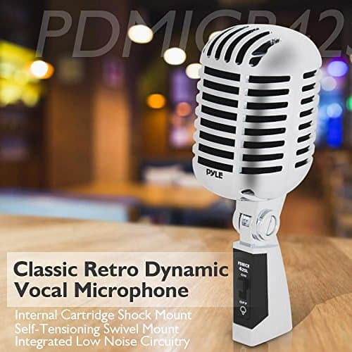 Classic Retro Dynamic Vocal Microphone - Old Vintage Style Unidirectional Cardioid Mic with XLR Cable - Universal Stand Compatible - Live Performance In Studio Recording - Pyle PDMICR42SL (Silver)