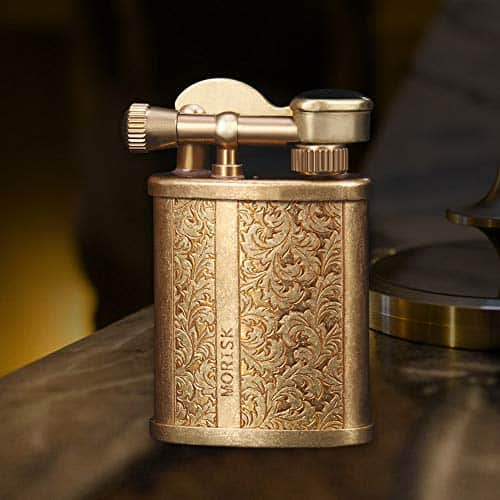 Morisk Vintage Trench Lighter, Cool Pipe Lighter Fluid Refillable with Pure Copper, Reusable Antique Brass Lighters, Unique Birthday Gifts for Him Men Dad Husband for Collection