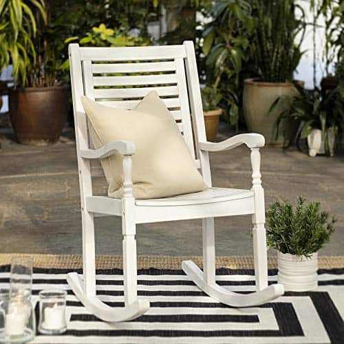 Walker Edison Furniture Company Outdoor Patio Wood Ladder Back Rocking Chair All Weather Backyard Conversation Garden Poolside Balcony, Set of 1, White Wash