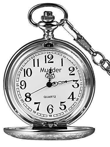 Mudder Vintage Stainless Steel Quartz Pocket Watch Chain (Silver)