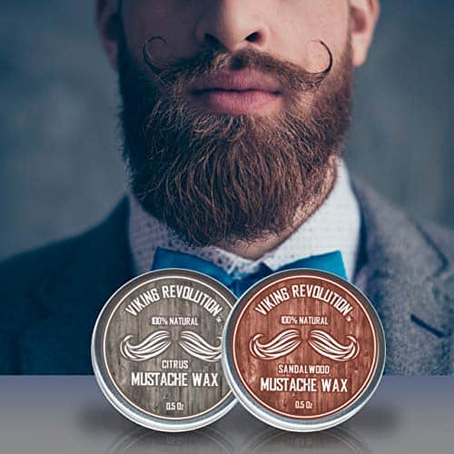 Mustache Wax 2 Pack - Beard & Moustache Wax for Men - Strong Hold Helps Train Tame & Style (Citrus & Sandalwood, 2 pack)