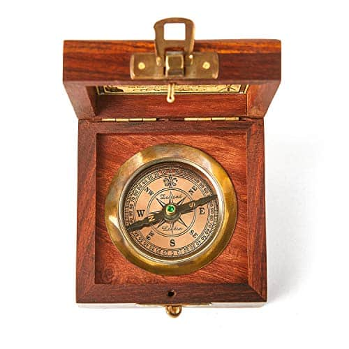 Super7One Handmade Antique Vintage Brass Compass in Rosewood Box   Exquisite Nautical Compass for Home Decor   Pocket Compass Gift for Every Occasion (Vintage Brown)