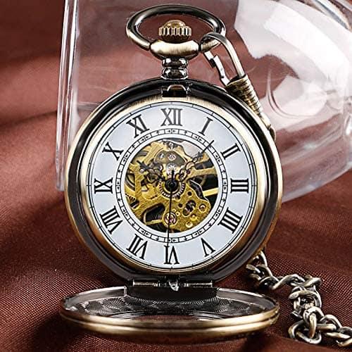 Udaney Antique Bronze Retro Half Hunter Mechanical Pocket Watch Roman Numerals